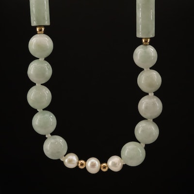 Endless Pearl and Nephrite Necklace with 14K Spacer Beads