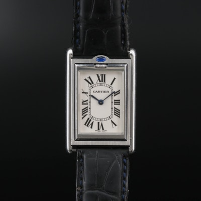 "Cartier Tank ""Basculante"" Stainless Steel Stem Wind Wristwatch"