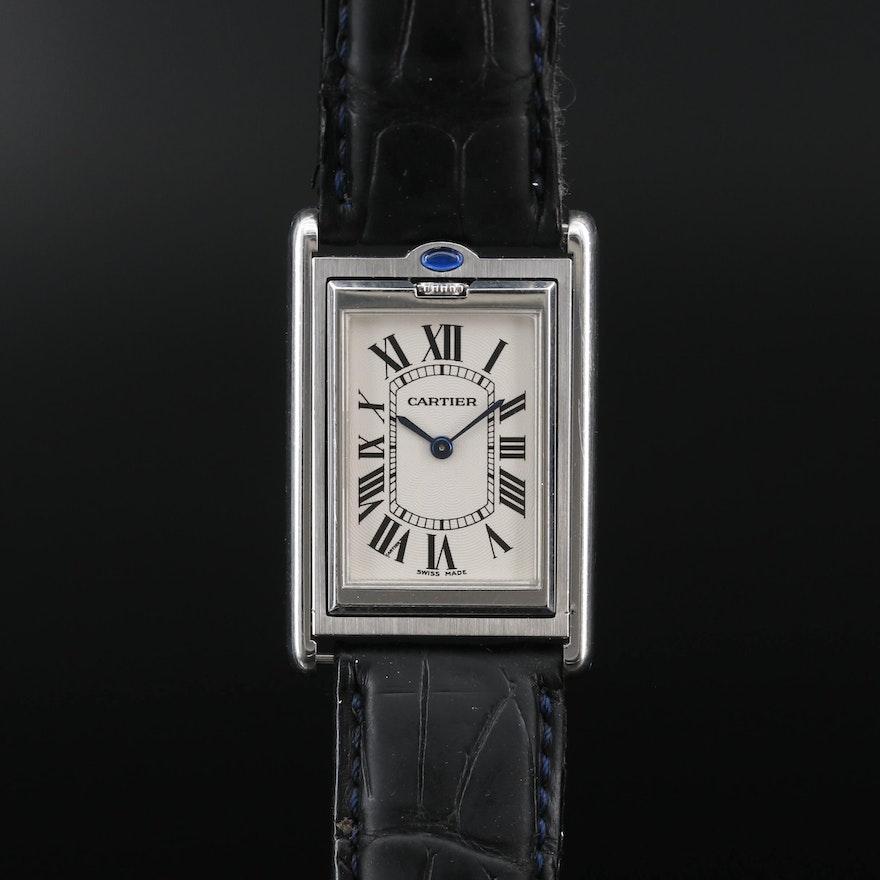 "Cartier Tank ""Basculante"" Stainless Steel Stem Wind Wristwatch"