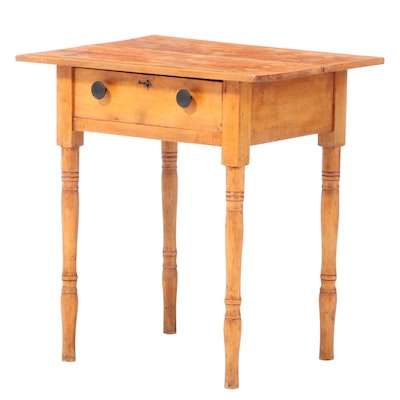 American Primitive One-Drawer Side Table, Late 19th/Early 20th Century