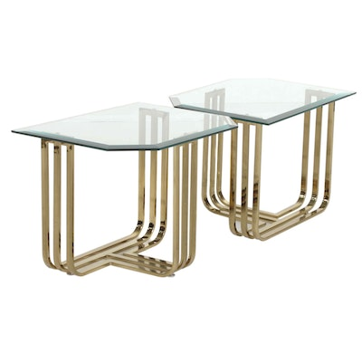 Pair of Contemporary Glass Top Brass Side Table, 21st Century