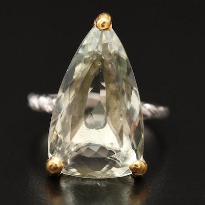 Sterling Silver Prasiolite Triangular Ring
