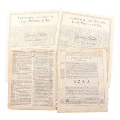 "Original Leaves from ""The Geneva Bible"", Books Ezra and Acts, circa 1560 to 1644"
