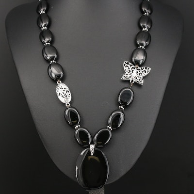 Sterling Black Onyx Butterfly Necklace