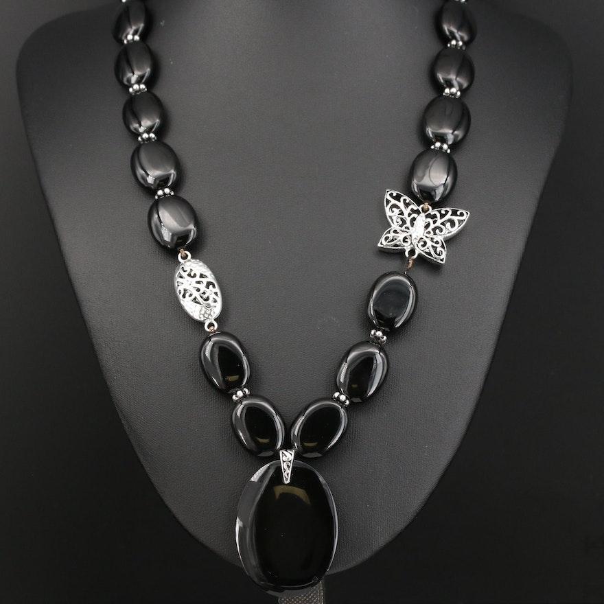 Sterling Black Onyx Butterfly Necklace