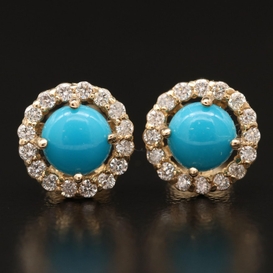 14K Turquoise and Diamond Halo Stud Earrings