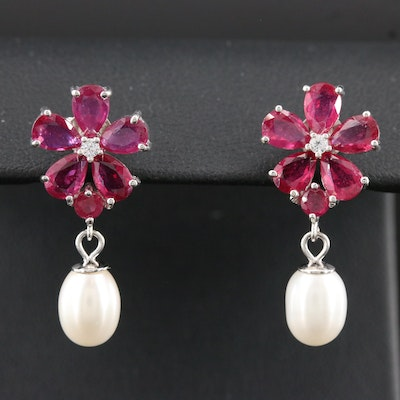 Sterling Corundum and Pearl Flower Drop Earrings