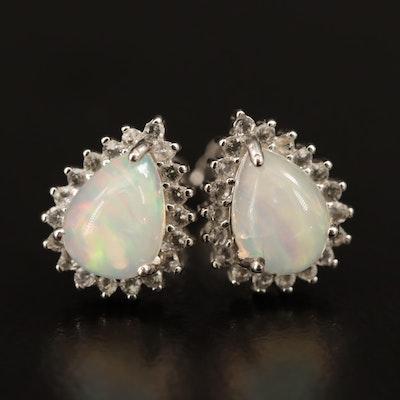 Sterling Silver Opal and White Topaz Teardrop Stud Earrings