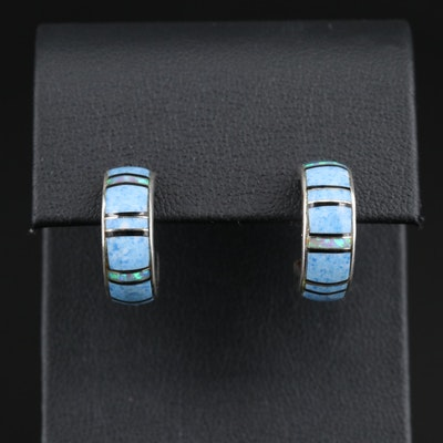 Signed Sterling Inlay Hoop Earrings