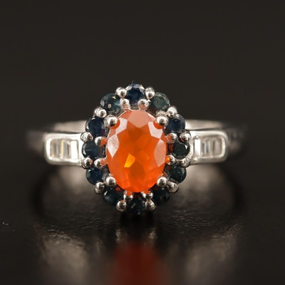 Sterling Fire Opal Ring with Sapphire Halo and Cubic Zirconia Lined Shoulders