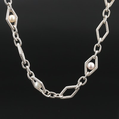Charles Krypell Sterling Silver Pearl Station Necklace