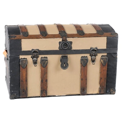 Oak and Metal Domed Steamer Trunk