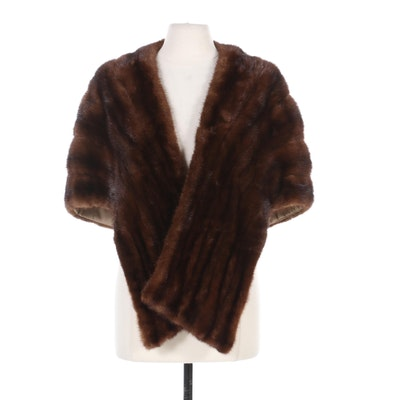 Mahogany Mink Fur Stole, Mid-20th Century