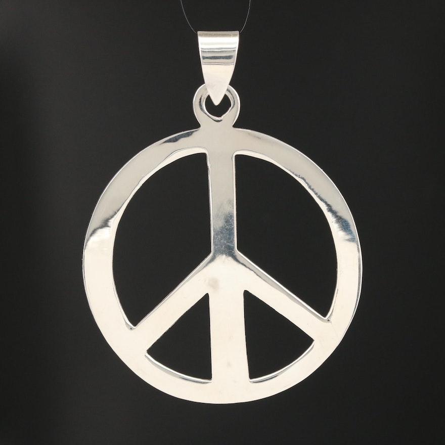 Sterling Peace Symbol Pendant