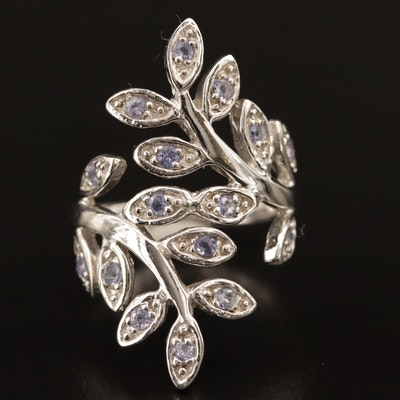 Sterling Silver Tanzanite Foliate Bypass Ring