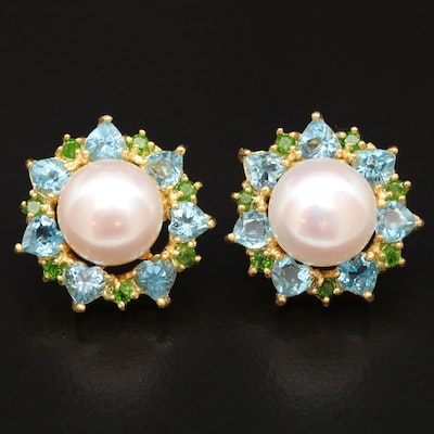 Sterling Silver Pearl, Topaz and Diopside Button Earrings