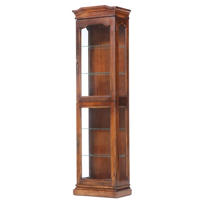 Colonial Style Walnut Illuminated Curio Cabinet, Late 20th Century