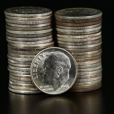 Uncirculated Silver Roosevelt Dimes, 1946-1964-P,D&S