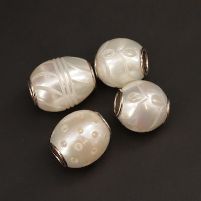 Galatea 'Queen Bead' Collection Carved Pearl Beads with Sterling Silver Accent
