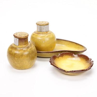 Nicodemus Ferro-Stone Yellowware Pottery Shakers and Serving Dishes