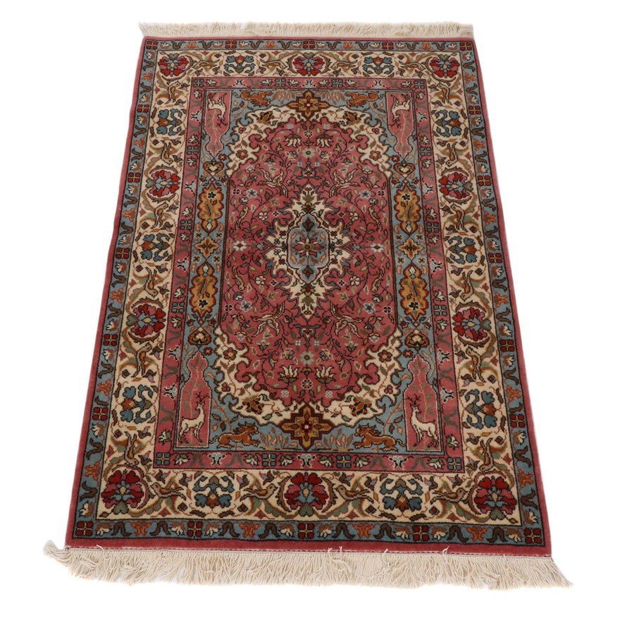4'1 x 7'1 Hand-Knotted Persian Tabriz Wool Rug