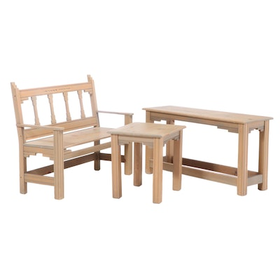 3-Piece Stained Pine Bench, Side and Console Tables, Late 20th Century