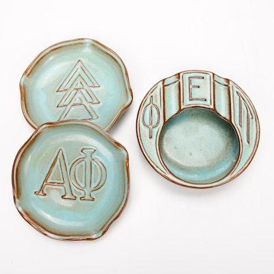 Nicodemus Ferro-Stone Pottery Turquoise Glaze Ashtrays