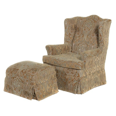 Slipcovered Wingback Arm Chair and Ottoman, Late 20th Century