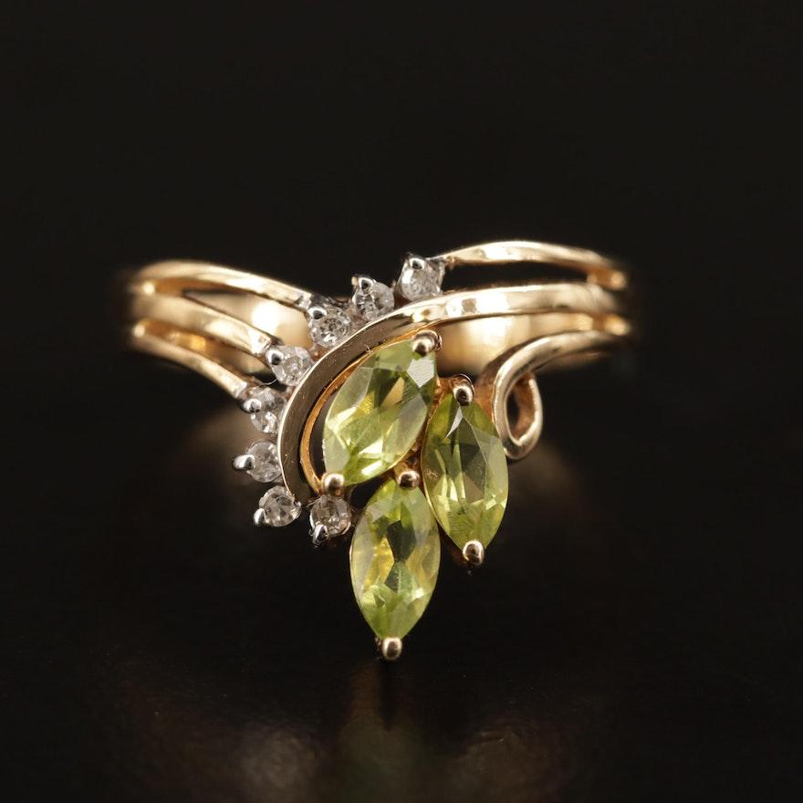 10K Peridot and Diamond Ring