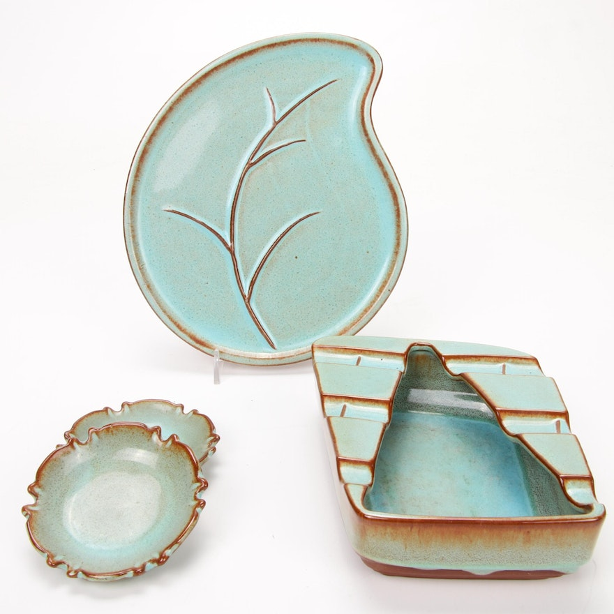 Nicodemus Ferro-Stone Turquoise Glazed Pottery Dishes and Ashtray, Mid-20th C.