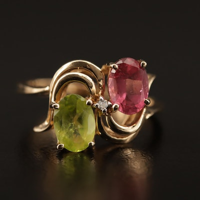 10K Tourmaline, Peridot and Diamond Ring