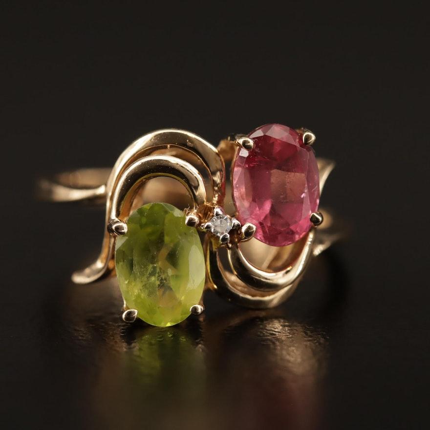 10K Tourmaline, Peridot and Diamond Ring