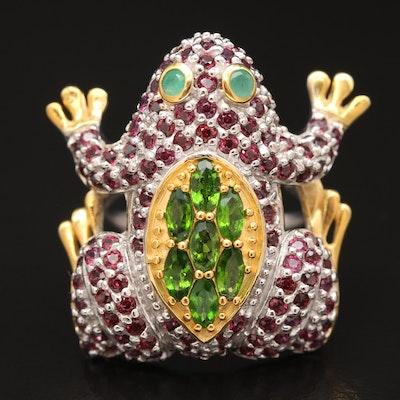 Sterling Diopside, Emerald and Rhodolite Garnet Frog Ring