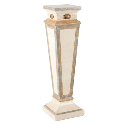 Paint-Decorated and Faux Marble Pedestal Stand