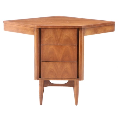 Dixie Furniture Mid Century Modern Three-Drawer Corner Unit