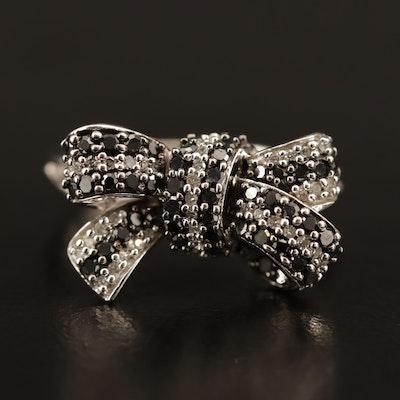10K Diamond Bow Ring Featuring Black Diamonds