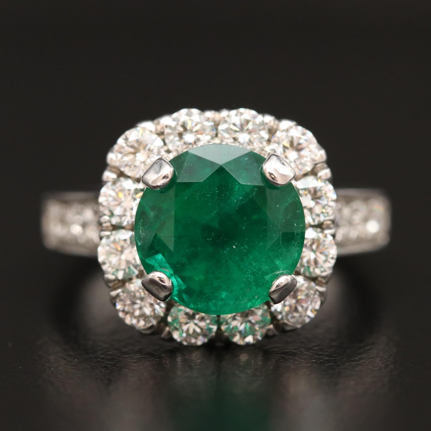 14K 2.97 CT Emerald and 1.22 CTW Diamond Halo Ring