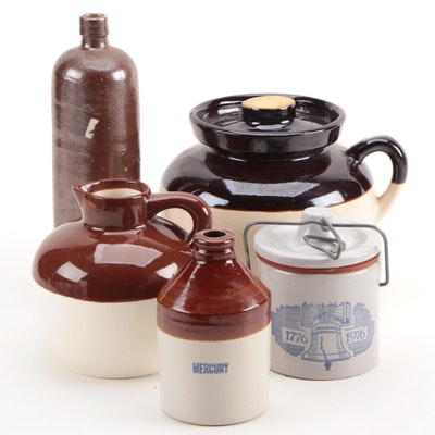 Stoneware Bottle and Other Stoneware Containers, Mid-20th Century