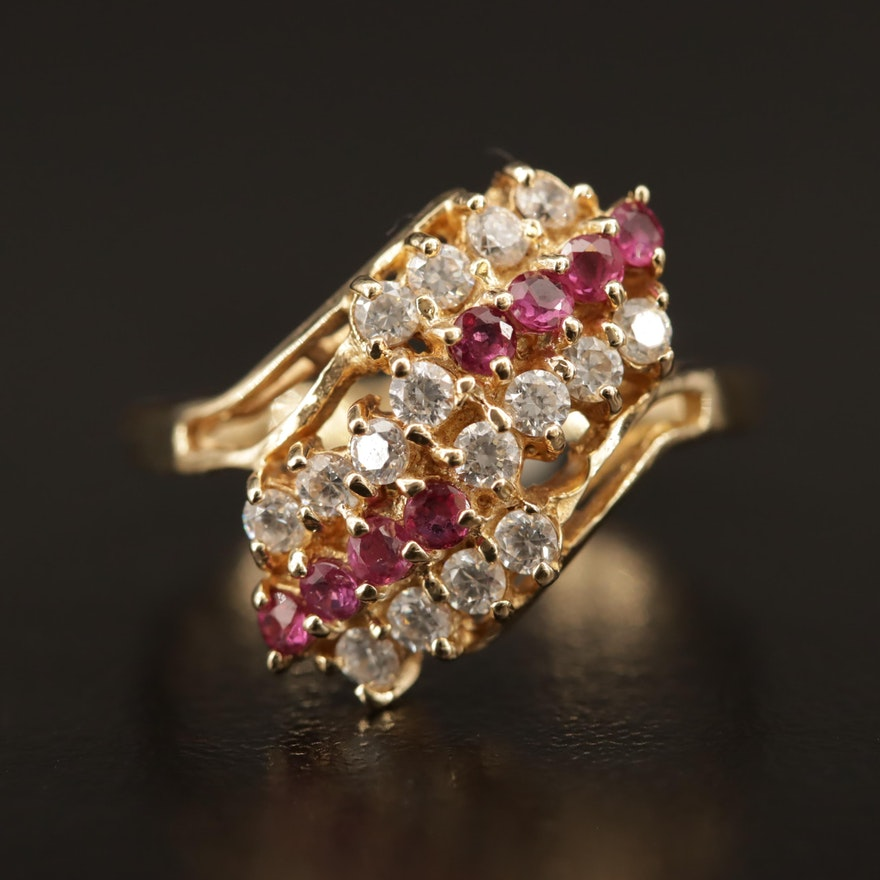 10K Ruby and Cubic Zirconia Bypass Ring