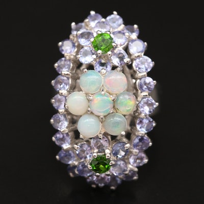 Sterling Silver Opal, Tanzanite and Diopside Ring