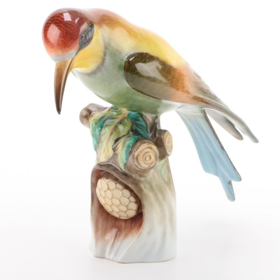 "Herend Hand-Painted Natural ""Bee Eater"" Porcelain Bird Figurine"
