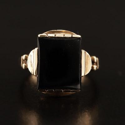 Vintage 10K Black Onyx Ring
