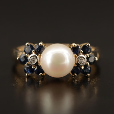 14K Pearl, Sapphire and Diamond Ring