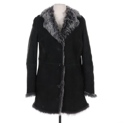 Autunno Black and Grey Shearling Coat