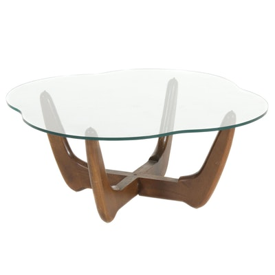 Adrian Pearsall Style Mid Century Modern Walnut and Glass Coffee Table