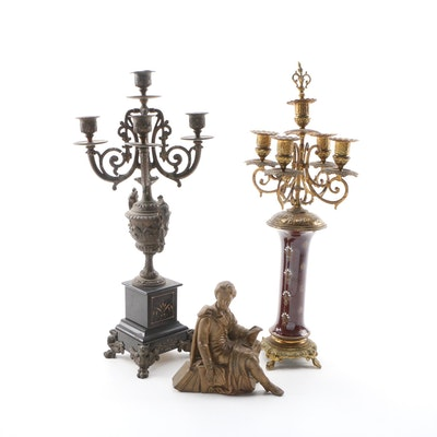 Victorian Candelabras and Bronze Statue of a Man, Mid 19th-Early 20th Century
