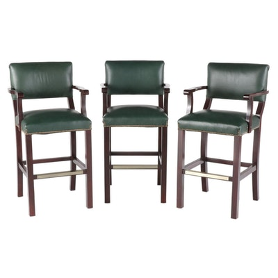 Leather Upholstered Counter Height Chairs with Nail Tack Detailing