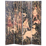 Ebonized and Paint-Decorated Four-Panel Folding Screen of Hunters and Dogs