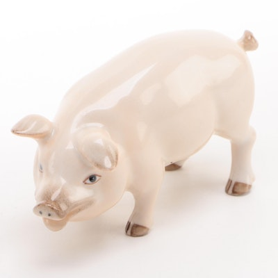 Herend Natural Hand-Painted Porcelain Pig Figurine, 1995