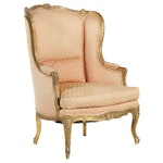 Louis XV Style Upholstered Bergère Chair, Late 19th Century